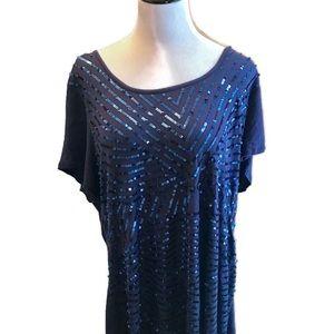 Lane Bryant Blue Sequin Knit Top Size 18/20